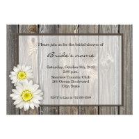 Rustic Daisy Bridal Shower Invitations