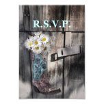 rustic daisy country cowboy wedding rsvp response card