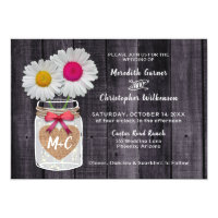 Rustic Daisy Flowers Mason Jar Wedding Invitation