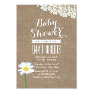 Rustic Daisy & Lace Burlap Baby Shower Invitations