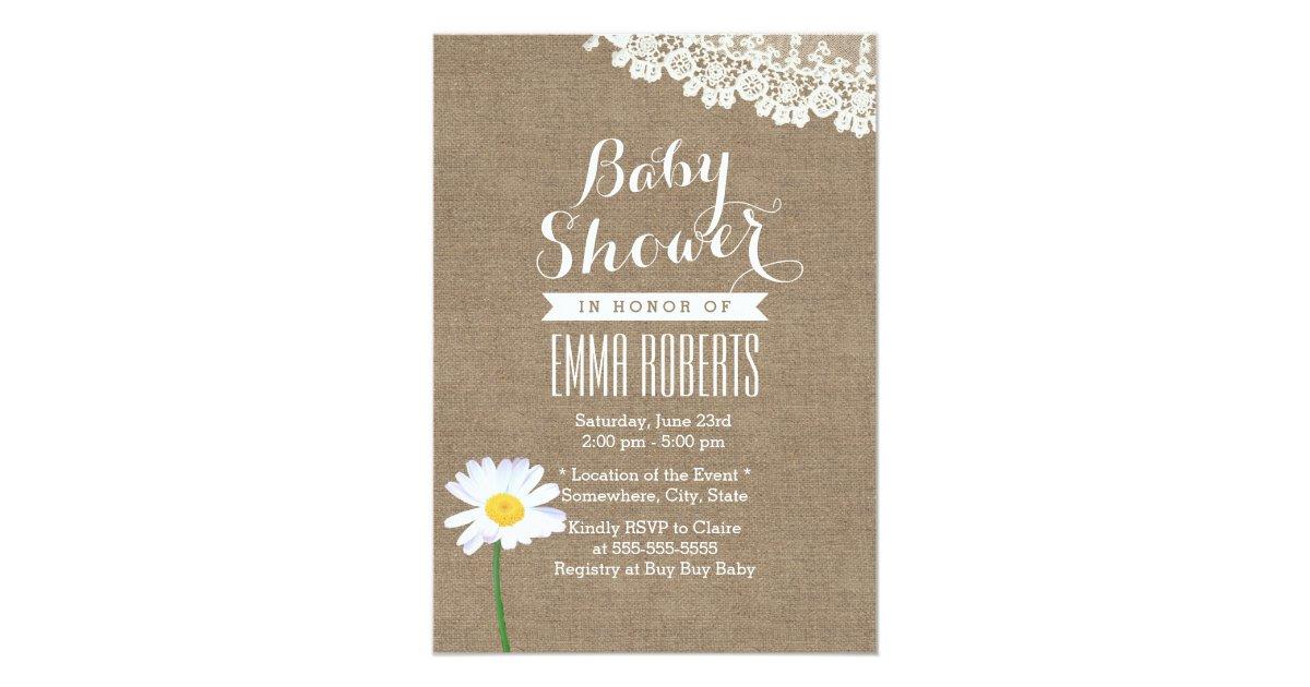 rustic daisy lace burlap baby shower invitations zazzle