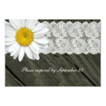 Rustic Daisy Lace Wood rsvp Personalized Invites