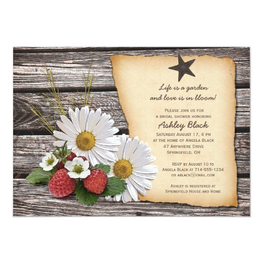Rustic Daisy Wedding Invitations: Rustic Daisy Strawberry Bridal Shower Invitation