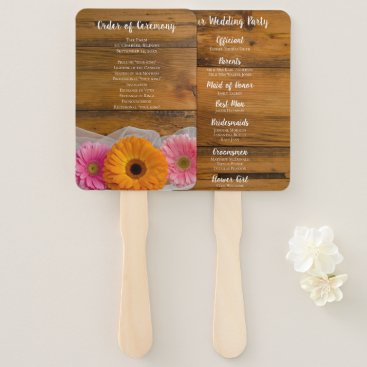 Wedding Themed Rustic Daisy Trio Country Wedding Hand Fan
