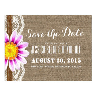 Rustic Daisy Twine & Burlap Save the Date Postcard