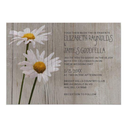 Wonderful Rustic Daisy Wedding Invitations