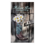 rustic daisy western country cowboy wedding business card