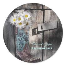 rustic daisy western country cowboy wedding classic round sticker