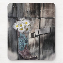 rustic daisy western country cowboy wedding mouse pad