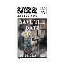 rustic daisy western country cowboy wedding postage