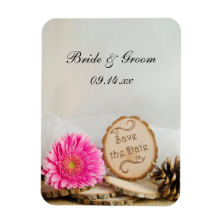 Rustic Daisy Woodland Wedding Save the Date Magnet