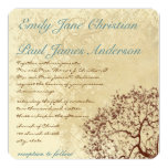 """Rustic Damask Brown Tree Teal Font Wedding Invite 5.25"""" Square Invitation Card"""