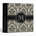 Rustic Damask Pattern in Black and Parchment Vinyl Binders