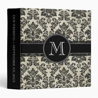 Rustic Damask Pattern in Black and Parchment Binder