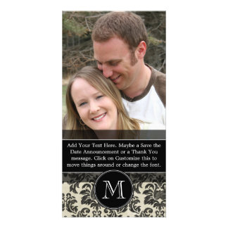 Rustic Damask Pattern in Black and Parchment Card