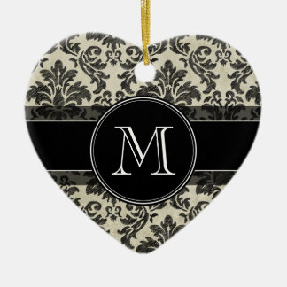 Rustic Damask Pattern in Black and Parchment Ceramic Ornament