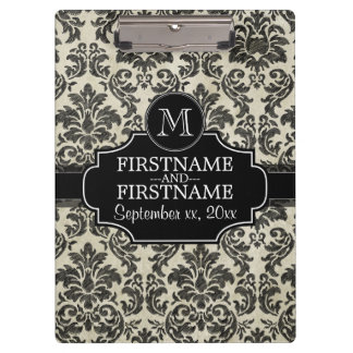 Rustic Damask Pattern in Black and Parchment Clipboards