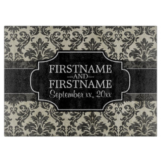 Rustic Damask Pattern in Black and Parchment Cutting Board