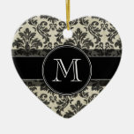 Rustic Damask Pattern in Black and Parchment Double-Sided Heart Ceramic Christmas Ornament