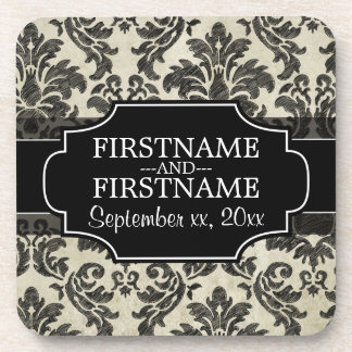 Rustic Damask Pattern in Black and Parchment Drink Coaster