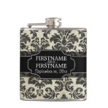 Rustic Damask Pattern in Black and Parchment Flask