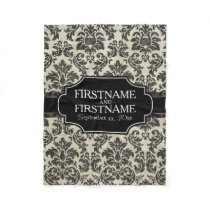 Rustic Damask Pattern in Black and Parchment Fleece Blanket