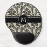 Rustic Damask Pattern in Black and Parchment Gel Mouse Pad