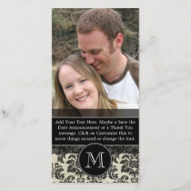 Rustic Damask Pattern in Black and Parchment Save The Date