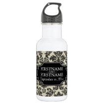 Rustic Damask Pattern in Black and Parchment Stainless Steel Water Bottle