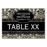 Rustic Damask Pattern in Black and Parchment Table Card