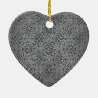 Rustic Damask Pewter Steel Grey Ceramic Ornament