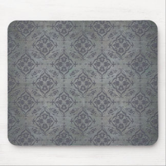 Rustic Damask Pewter Steel Grey Mouse Pad