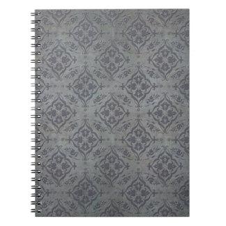 Rustic Damask Pewter Steel Grey Journal