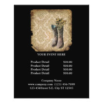 rustic damask western country cowboy flyer