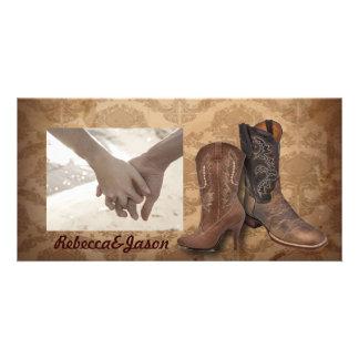 rustic damask Western Cowboy wedding Card