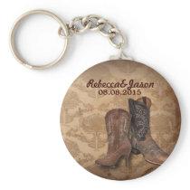 rustic damask Western Cowboy wedding favor Keychain