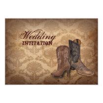 rustic damask Western Cowboy wedding Invitation