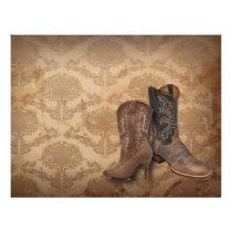 rustic damask Western Cowboy wedding Letterhead
