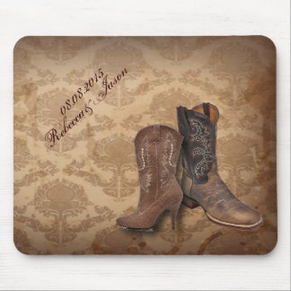 rustic damask Western Cowboy wedding Mouse Pad