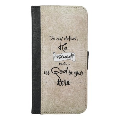 Rustic Damask with God Quote iPhone 6/6S Plus Wallet Case