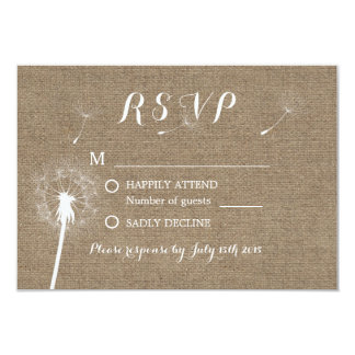 Rustic Dandelion Blowing Burlap Wedding RSVP Card