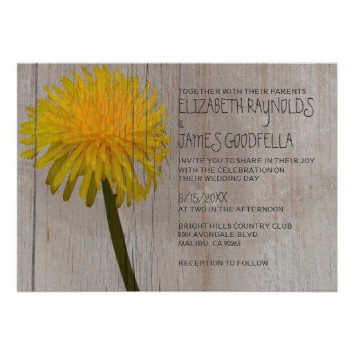 rustic dandelion wedding invitations custom invitations zazzle