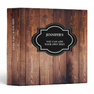 Rustic dark barn wood personalized country 3 ring binder