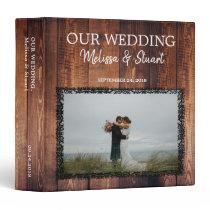 Rustic dark barn wood photo Wedding album 3 Ring Binder