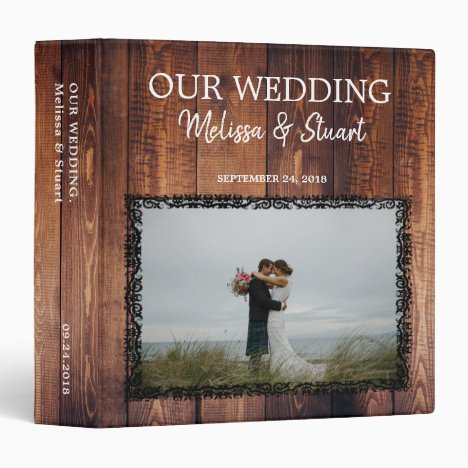 Rustic dark barn wood photo Wedding album 3 Ring Binder