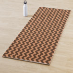 [ Thumbnail: Rustic Dark Brown & Light Brown Wavy Pattern Yoga Mat ]