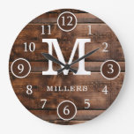 Rustic Dark Brown Wood  Family Name Monogram Large Clock