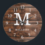 """Rustic Dark Brown Wood Family Name Monogrammed Large Clock<br><div class=""""desc"""">Monogrammed wall clock with a dark brown wood texture background. Personalize the family clock with your family name and monogram initial letter. Credit: Photo by Michael Mroczek on Unsplash</div>"""