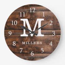 Rustic Dark Brown Wood Family Name Monogrammed Large Clock