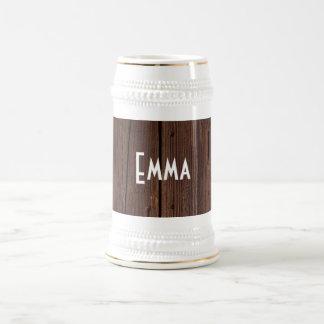 Rustic Dark Brown Wood Wooden Fence Country Style Beer Stein